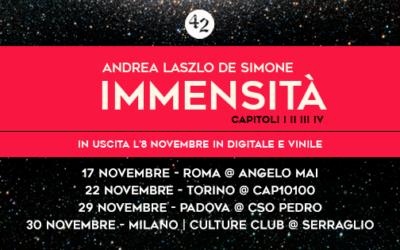 """Andrea Laszlo De Simone: in uscita l'8 novembre """"Immensità"""""""